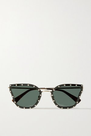 Black Valentino Garavani cat-eye crystal-embellished acetate and gold-tone sunglasses | Valentino | NET-A-PORTER