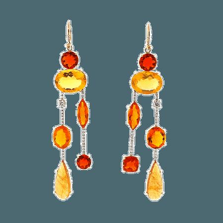 Fire Opal Diamond Drop Earrings | Marissa Collections