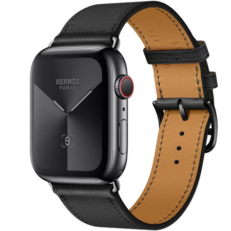 44mm Apple Watch Hermès Space Black Stainless Steel Case with Noir Swift Leather Single Tour