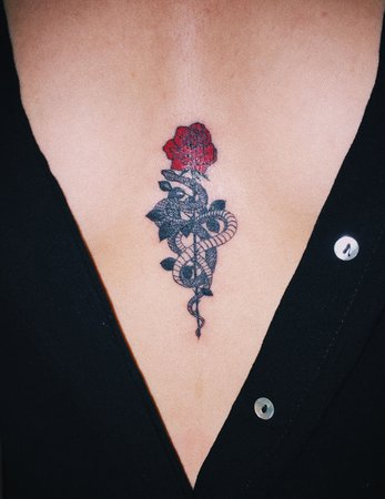 Rose and Snake Tattoo