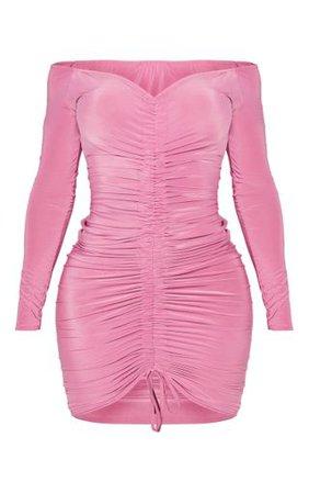 Shape Mauve Slinky Ruched Bardot Midi Dress | PrettyLittleThing