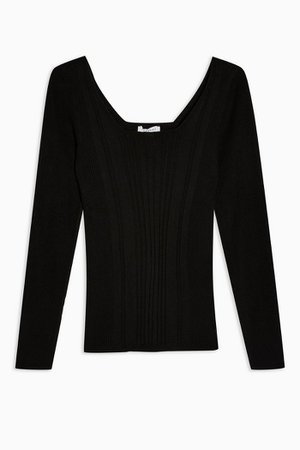 Black Square Neck Ribbed Knitted Top | Topshop