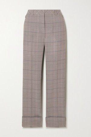 Maxima Checked Wool Straight-leg Pants - Gray