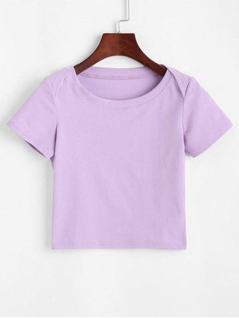 [39% OFF] [POPULAR] 2020 Buttons Solid Crop Tee In PURPLE | ZAFUL