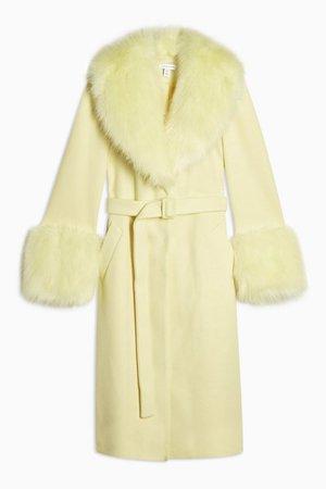 Yellow Faux Fur Trim Coat | Topshop