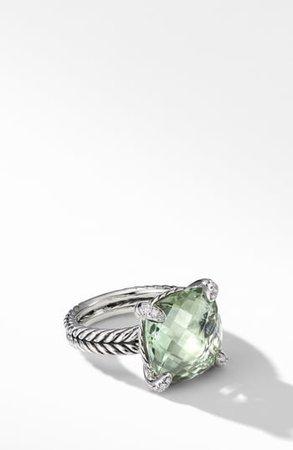 Chatelaine(R) Prasiolite Ring with Diamonds