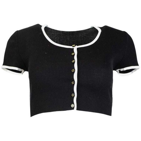 Chanel Black & White Cropped Cardigan