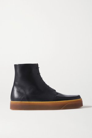 Williams Leather Ankle Boots - Navy