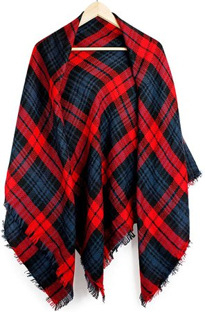 Oct17 Plaid Scarfs for Women Pashmina Tartan Wrap Large Warm Blanket Soft Shawl Checked Winter Fall Scarfs Scarves for Woman - Red at Amazon Women's Clothing store