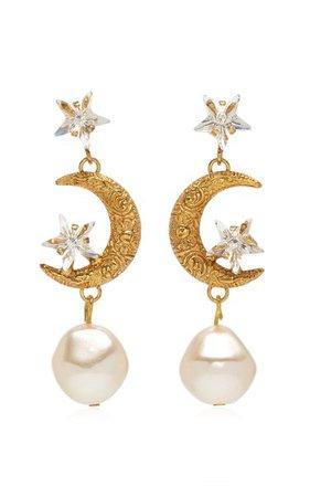 Elpis Crystal, Pearl Gold-Plated Earrings By Jennifer Behr | Moda Operandi