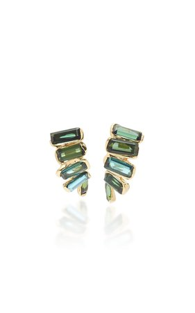 Kaxinawa 18K Gold And Tourmaline Earrings by Kika Alvarenga | Moda Operandi