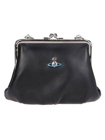 Black Leather Emma Frame Crossbody Bag