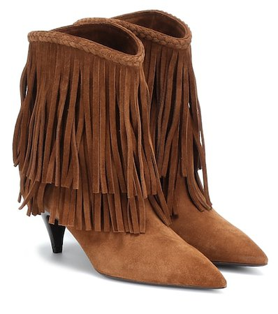 Charlottw fringed suede ankle boots