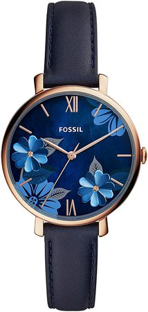 Fossil Women's Jacqueline Stainless Steel Quartz Watch with Leather Strap, Blue, 14 (Model: ES4673): Fossil: Watches