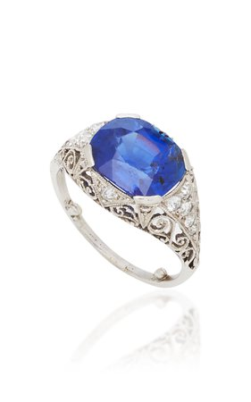 Click Product to Zoom Eleuteri Antique Platinum, Burmese Sapphire And Diamond Ring