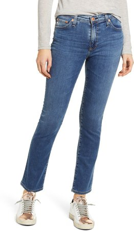 Mari High Waist Ankle Straight Leg Jeans