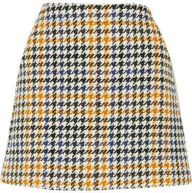 Houndstooth Wool-blend Mini Skirt - Ivory