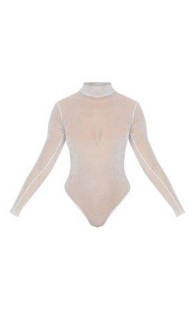 Silver Sheer Glitter High Neck Bodysuit   PrettyLittleThing