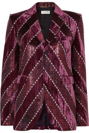 Purple Embroidered velvet and silk-blend lamé blazer | SAINT LAURENT | NET-A-PORTER