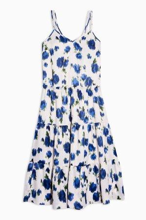 Ivory Floral Tiered Satin Slip Dress | Topshop