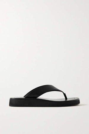 Ginza Leather Platform Flip Flops - Black