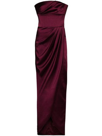 RASARIO, bandeau draped maxi dress