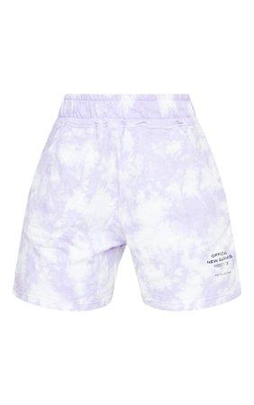 Prettylittlething Lilac Tie Dye Slogan Sweat Shorts   PrettyLittleThing USA