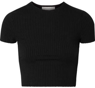calé - Esmée Cropped Ribbed Stretch-jersey T-shirt - Black