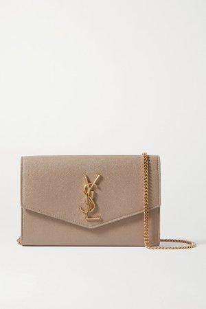 Uptown Textured-leather Shoulder Bag - Beige