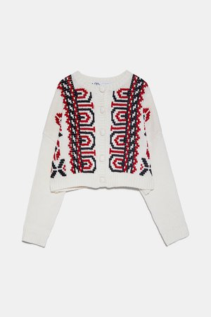 KNIT CARDIGAN WITH EMBROIDERY | ZARA United Kingdom