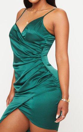Shape Burgundy Satin Wrap Dress   PrettyLittleThing USA