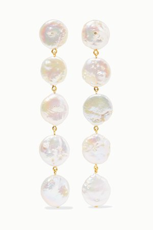 White Gold-plated pearl earrings | Chan Luu | NET-A-PORTER