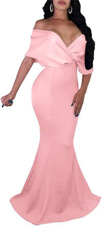 GOBLES Women Sexy V Neck Off The Shoulder Evening Gown Fishtail Maxi Dress at Amazon Women's Clothing store