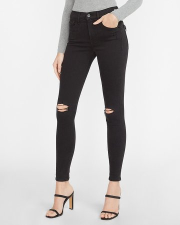 Mid Rise Denim Perfect Black Ripped Skinny Jeans