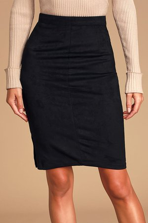 Chic Black Skirt - Suede Pencil Skirt - Vegan Suede Midi Skirt