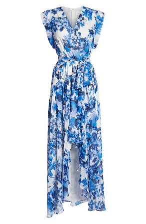 Eliza J Floral Ruffle High/Low Maxi Dress (Regular & Petite) | Nordstrom