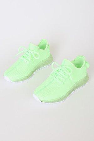 Neon Green Sneakers - Knit Sneakers - Athleisure Sneakers