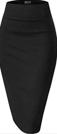 plain black pencil skirt