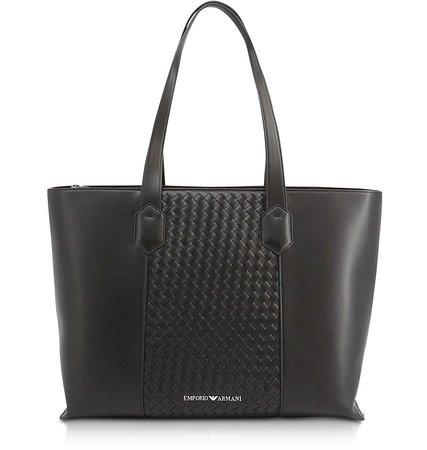 Emporio Armani Black Woven Eco-Leather Tote Bag at FORZIERI