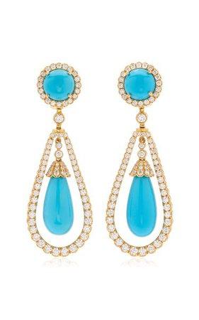 18k Yellow Gold Turquoise, Diamond Earrings By Goshwara   Moda Operandi
