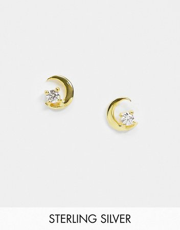 ASOS DESIGN sterling silver with gold plate stud earrings in crystal moon design | ASOS