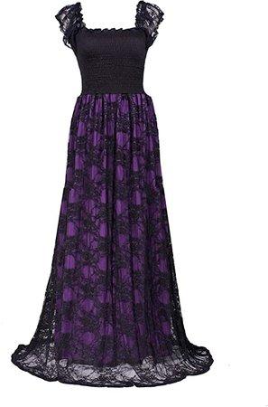 Amazon.com: Evening Dress Women Plus Size Maxi Wedding Guest Formal Cocktail Long Lace Gown (2X, Black/Purple Lace 2): Clothing