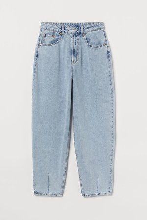 Balloon Fit Ankle Jeans - Blue