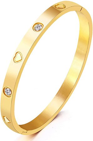 """Amazon.com: Christmas Gift MVCOLEDY Jewelry Yellow Gold Plated Bangle Bracelet Set In Heart and Stone Stainless Steel With Crystal Bangle Bracelets for Women Jewelry Size 6.7"""": Clothing"""
