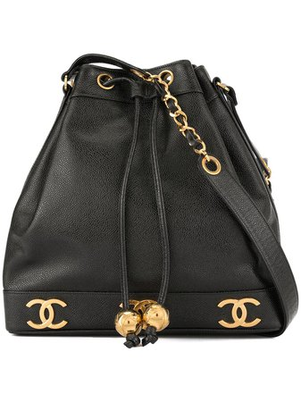 Shop black & gold Chanel Pre-Owned 1994-1996 CC logo drawstring shoulder bag with Express Delivery - Farfetch