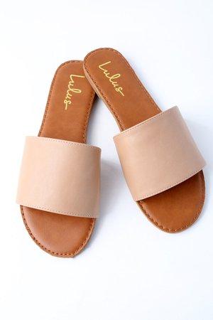 Natural Slide Sandals - Nude Sandals - Vegan Leather Sandals