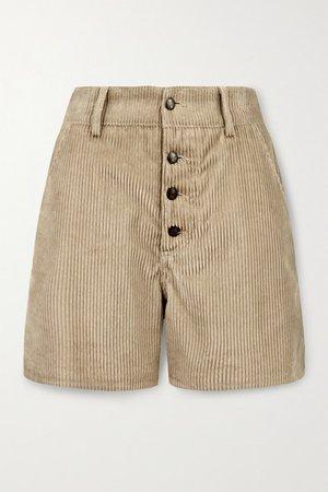 Cotton-corduroy Shorts - Beige