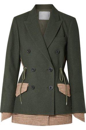 Sacai   Piqué and houndstooth wool blazer   NET-A-PORTER.COM