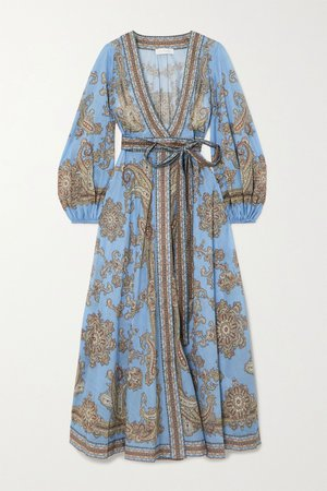 Blue Fiesta belted paisley-print linen wrap maxi dress   Zimmermann   NET-A-PORTER