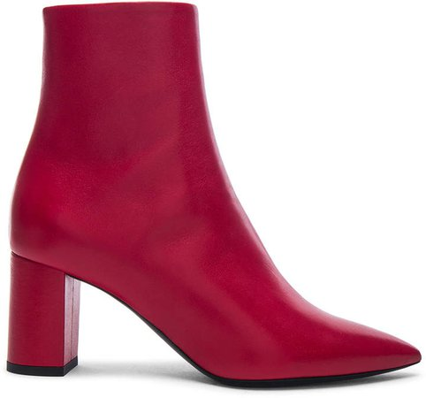 Leather Betty Heeled Ankle Boots in Eros Red | FWRD